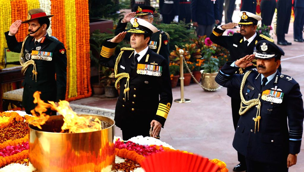 The Chief of Army Staff, General Dalbir Singh, the Chief of the Air Staff, Air Chief Marshal Arup Raha and the Chief of Naval Staff, Admiral R.K. Dhowan pay homage at Amar Jawan Jyoti on .. - Dalbir Singh