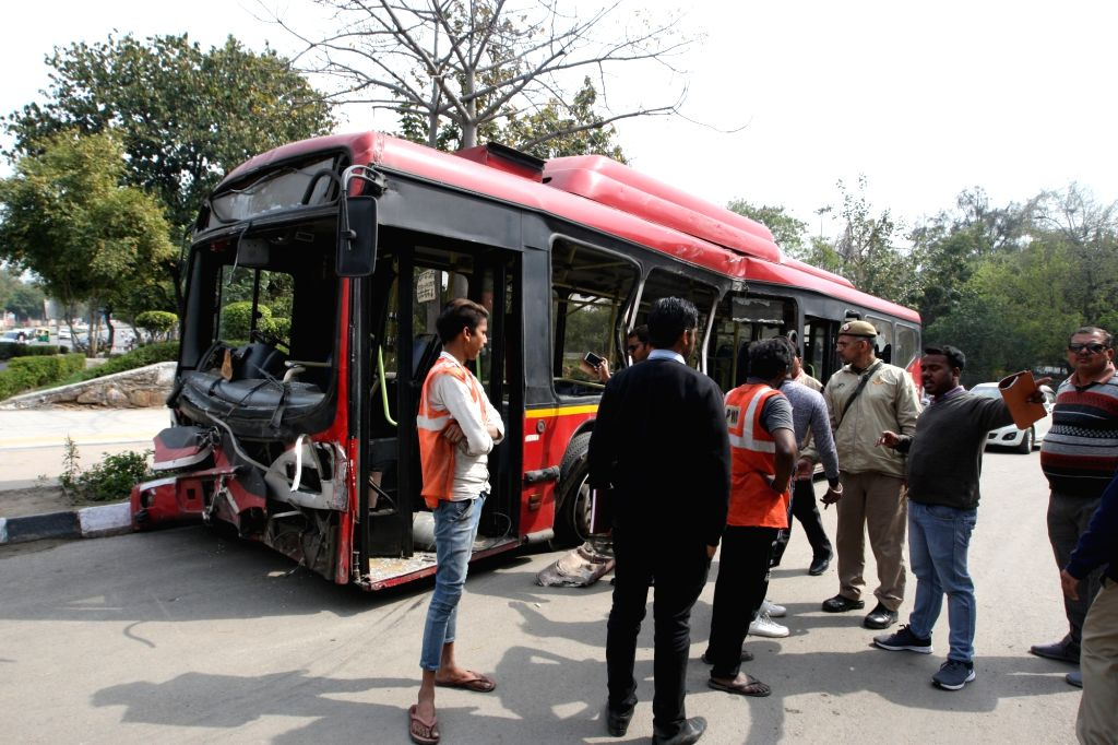 New Delhi: The DTC low floor bus that collided with  a speeding truck killing one and injuring 13 near the Delhi Police Headquarters in Central Delhi's ITO on Feb 26, 2019. The bus was en route from Anand Vihar to Uttam Nagar. (Photo: IANS)