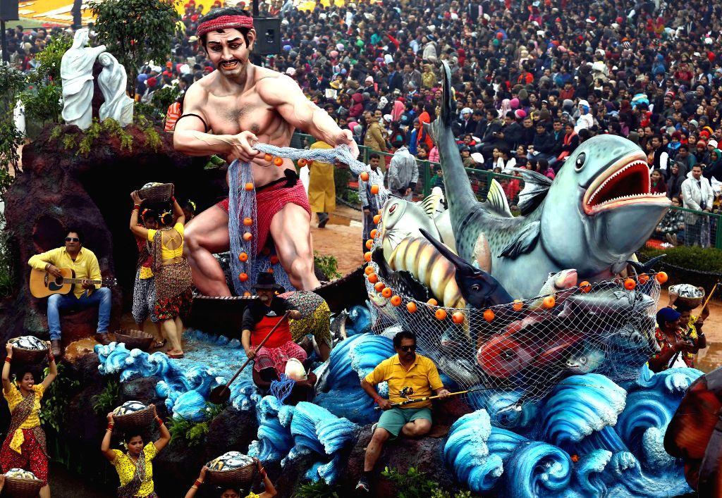 The Finance ministry's tableau during Republic Day celebrations at Rajpath in New Delhi, on Jan 26, 2015.