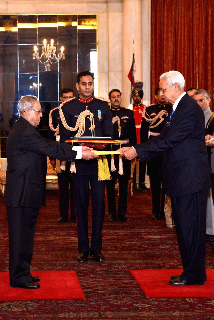 The High Commissioner-Designate of Bangladesh Syed Muazzem Ali presents his credentials to President Pranab Mukherjee, at Rashtrapati Bhavan, in New Delhi on Dec 9, 2014. - Pranab Mukherjee