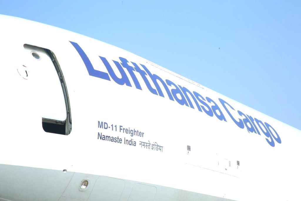 The MD-11 freighter aircraft of Lufthansa Cargo which was named as  `Namaste India` by Union Civil Aviation Minister Ashok Gajapathi Raju at the Indira Gandhi International (IGI) Airport ... - Ashok Gajapathi Raju and Indira Gandhi International