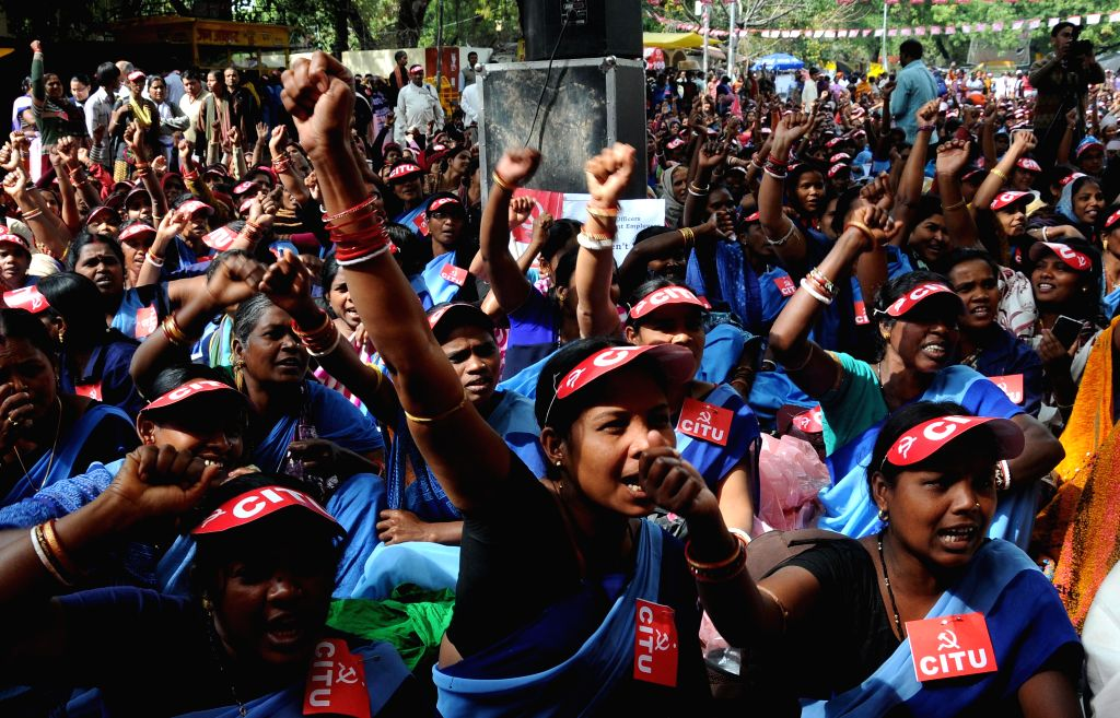 The members of All India Coordination Committee of Asha (Accredited Social Health Activists) Workers  stage a demonstration at Jantar Mantar to press for their demands in New Delhi, on ...