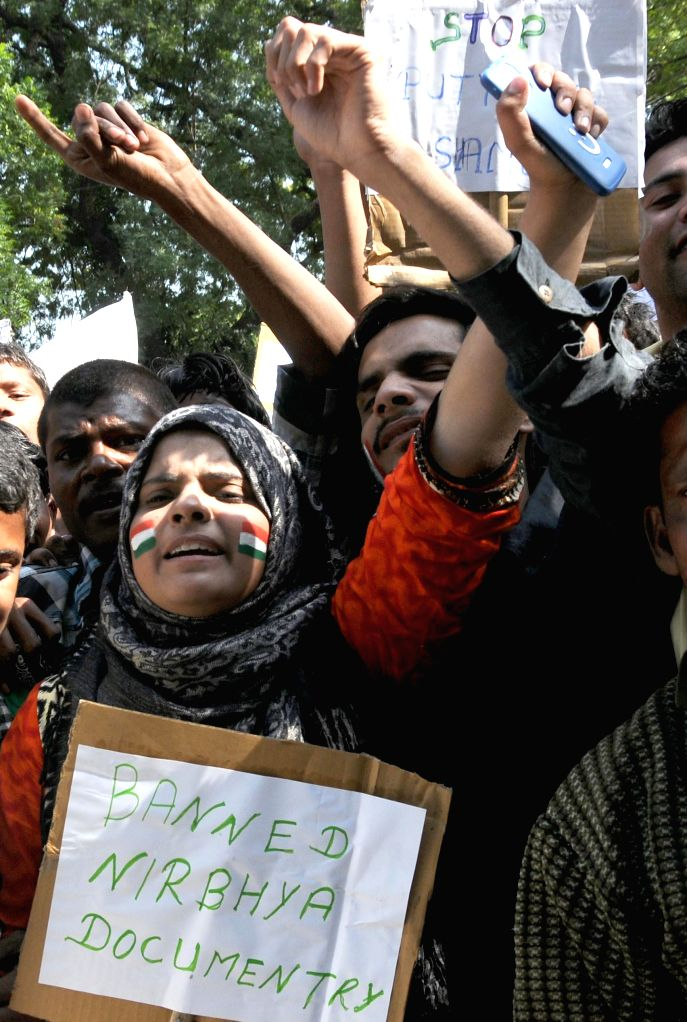 The members of Saifi Samaj - a social organisation, stage a demonstration against `India's Daughter` - a BBC documentary on the December 16, 2012 gang rape at Jantar Mantar in New Delhi, ...
