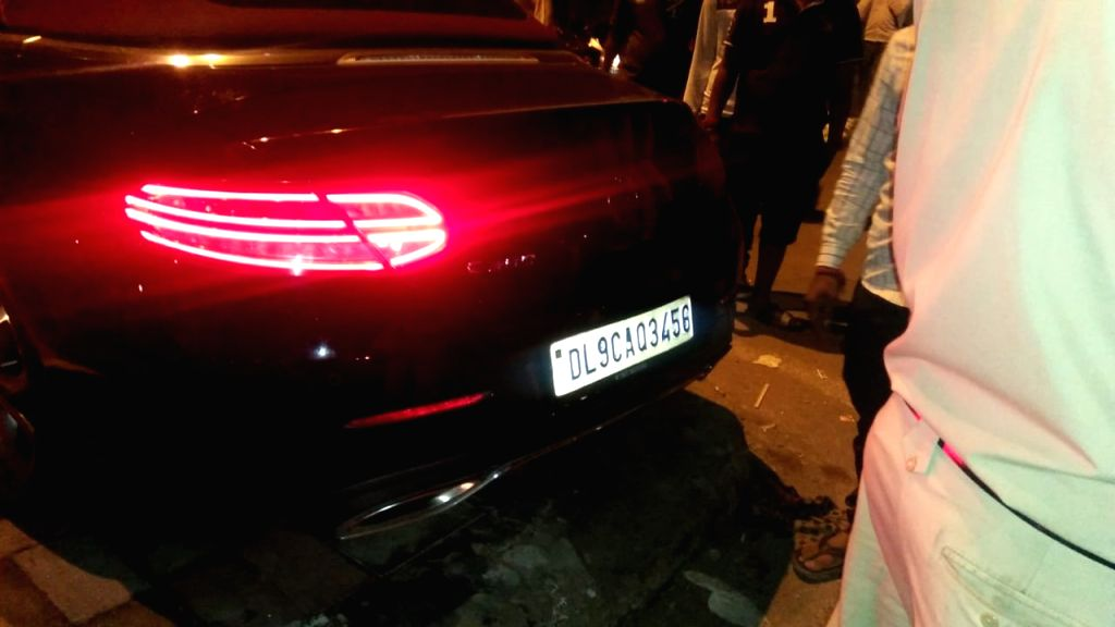 New Delhi: The Mercedes car driven by undergraduate son of a Noida businessman that rammed into a hatchback which had Central Reserve Police Force troopers on board in Greater Kailash area of New Delhi on July 18, 2019. The impact was such that the a - Vinod Kumar and Lal Yadav