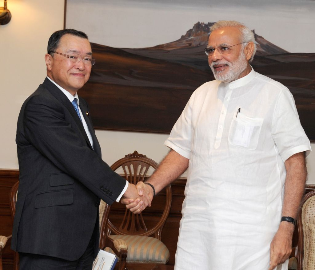The Minister for Economy, Trade and Industry, Japan, Yoichi Miyazawa calls on the Prime Minister Narendra Modi, in New Delhi on April 29, 2015. - Narendra Modi
