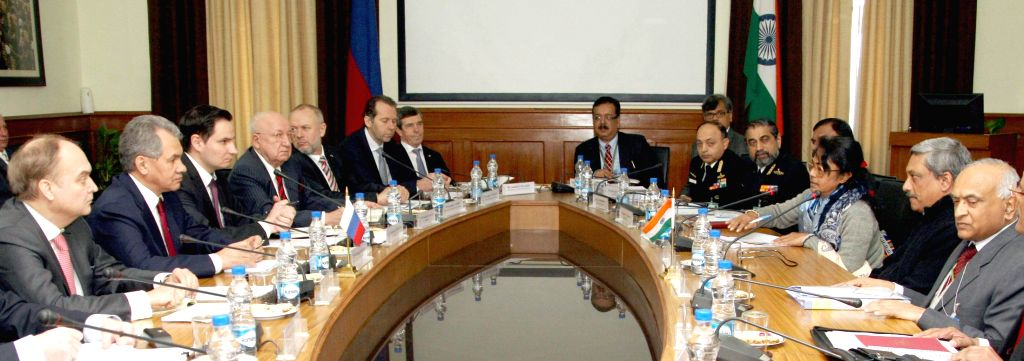 The Minister of Defence and General of Army of Russia Sergey K. Shoygu and the Union Defence Minister Manohar Parrikar at a delegation level meeting, in New Delhi on Jan 21, 2015. Also ...