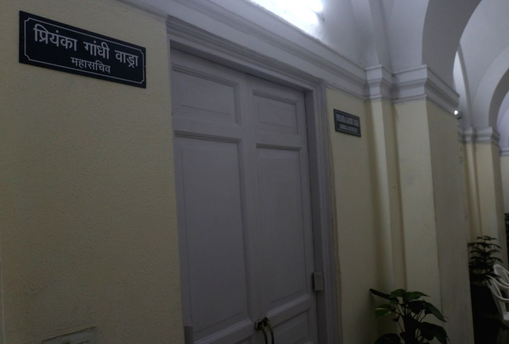 New Delhi: The nameplate of Priyanka Gandhi Vadra seen outside a room allotted to her at the Congress headquarters, next to the office of her brother and party chief Rahul Gandhi, in New Delhi, on Feb 5, 2019. The room was allotted to her on Tuesday, - Priyanka Gandhi Vadra and Rahul Gandhi