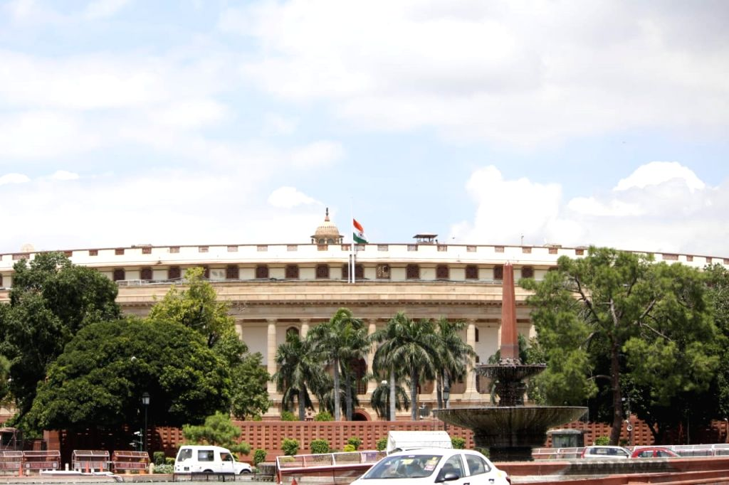 New Delhi: The national flag flies at half-mast at the Parliament House during a seven-day state mourning in memory of former President Pranab Mukherjee who passed away on Monday evening at Army's Research and Referral Hospital; in New Delhi on Sep 1 - Pranab Mukherjee