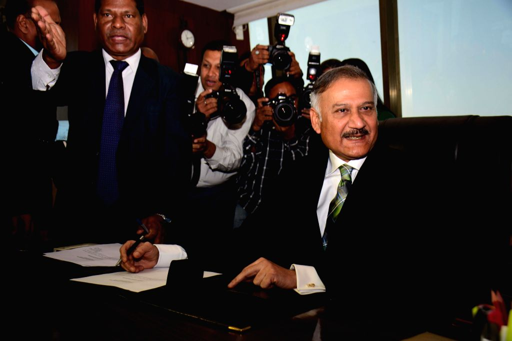 The newly appointed CBI Director Anil Kumar Sinha assumes charge at CBI Headquarters in New Delhi, on Dec 3, 2014. - Kumar Sinha