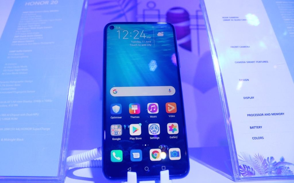 New Delhi: The newly launched Honor 20 smartphone on display, in New Delhi on June 11, 2019. Honor also launched 20 Pro and 20i smartphones today. (Photo: IANS)