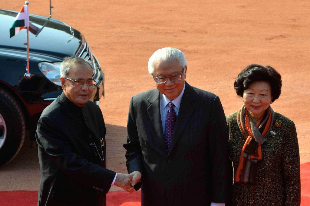 The President of the Republic of Singapore Dr. Tony Tan Keng Yam and Mary Tan being welcomed by the President Pranab Mukherjee on their arrival at the Rashtrapati Bhavan, in New Delhi on .. - Pranab Mukherjee