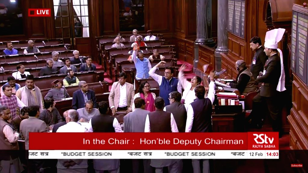 New Delhi: The Rajya Sabha was on Tuesday adjourned till 2 p.m. midway through Zero Hour as some members tried to raise their issues out of turn, in New Delhi on Feb 12, 2019. (Photo: IANS/RSTV)
