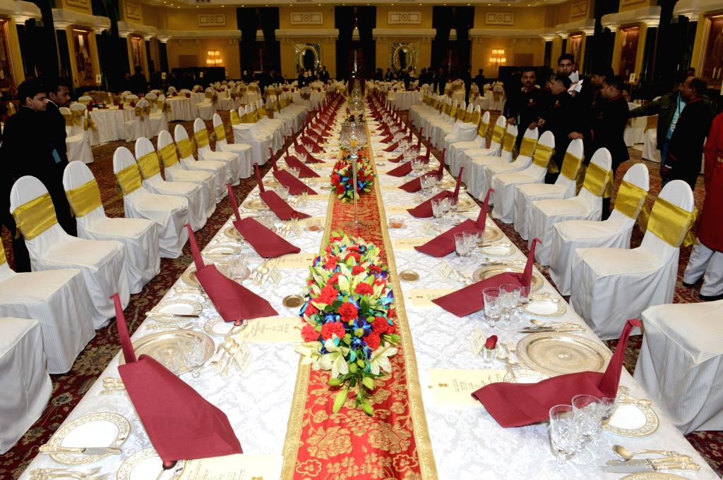 The Rashtrapati Bhawan banquet hall being prepared to host banquet organised in the honour of US President Barack Obama and First Lady Michelle Obama by President Pranab Mukherjee in New .. - Pranab Mukherjee
