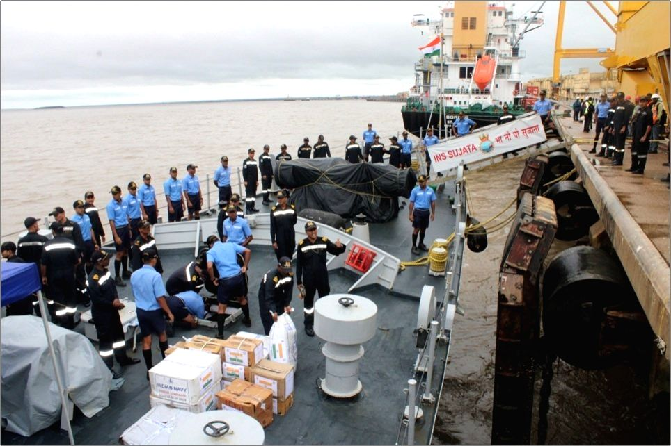New Delhi: The ship of First Training Squadron of Indian Navy - INS Sujata operating in the Southern Indian Ocean, being loaded with relief material before being diverted to Port Beira, Mozambique to provide Humanitarian Assistance and Disaster Relie
