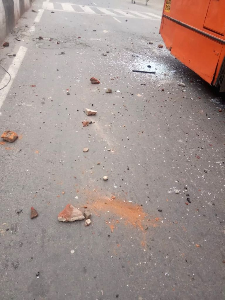 New Delhi: The site in North East Delhi's Seelmapur where a protest against the Citizenship Amendment Act (CAA) 2019 turned violent after protesters pelted stones at police personnel, on Dec 17, 2019. As per reports, many buses of DTC have also been