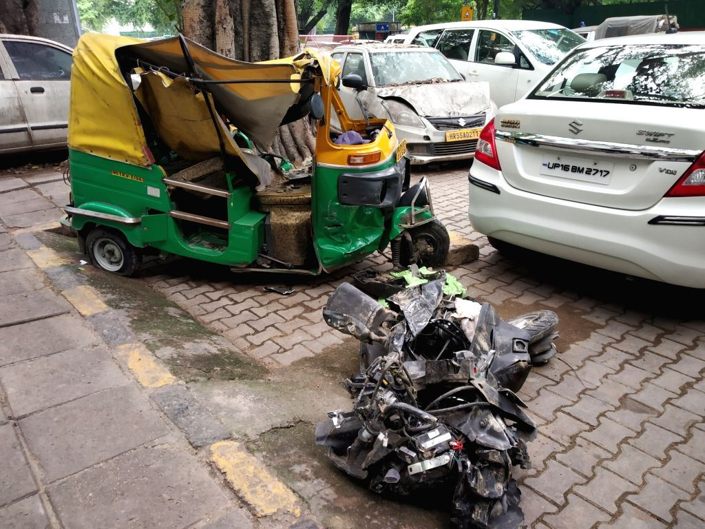 New Delhi: The site where a dumper truck lost control and ran over autos and pedestrians near India Gate on Man Singh Road in New Delhi in the early hours of Sep 3, 2019. Two people were killed and two others were injured in the accident. (Photo: IAN - Singh Road