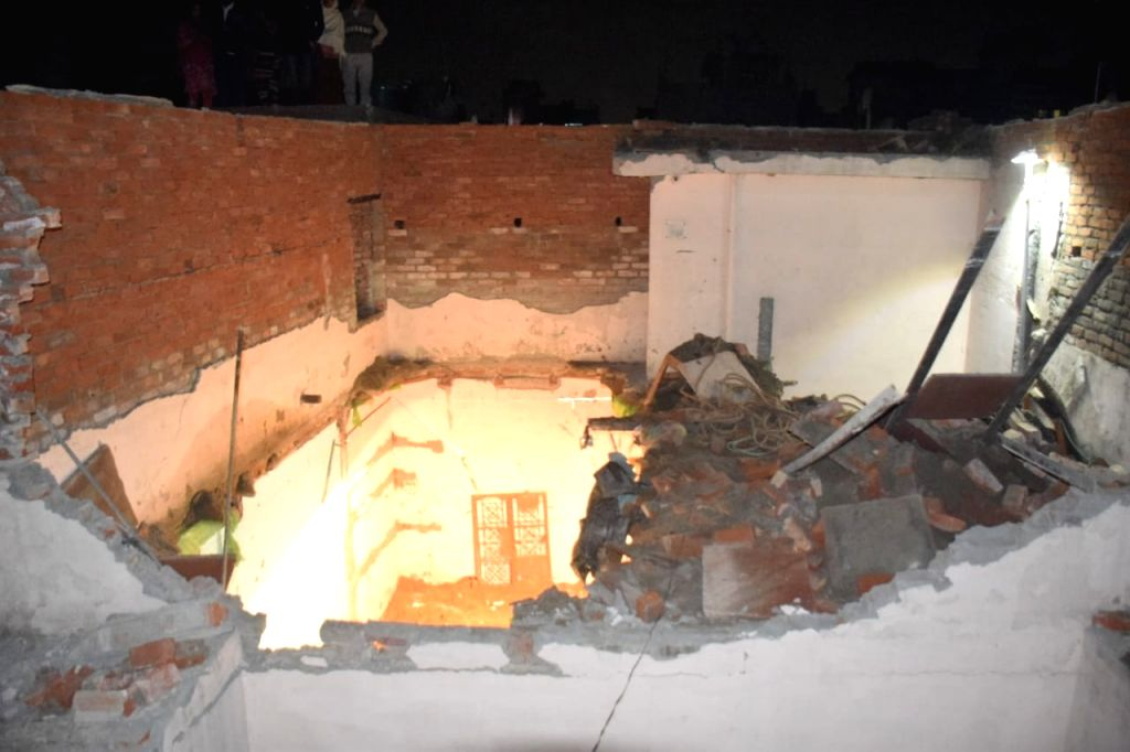 New Delhi: The site where an under-construction building collapsed, in north-east Delhi's Bhajanpura area on Jan 25, 2020.Ten persons were injured in the mishap. (Photo: IANS)