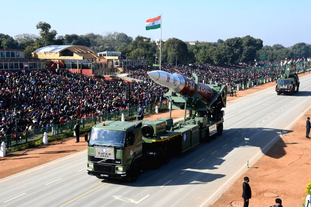 New Delhi: The tableau of Anti-satellite weapon code 'Mission Shakti' rolling down the Rajpath during full dress rehearsals ahead of the Republic Day parade 2020, in New Delhi on Jan 23, 2020. (Photo: IANS)