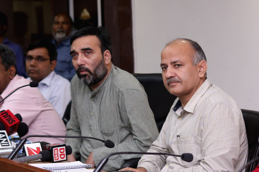 The Transport Minister of Delhi and Deputy Chief Minister Manish Sisodia during a press conference at Delhi Secretariat in New Delhi on March 31, 2015.