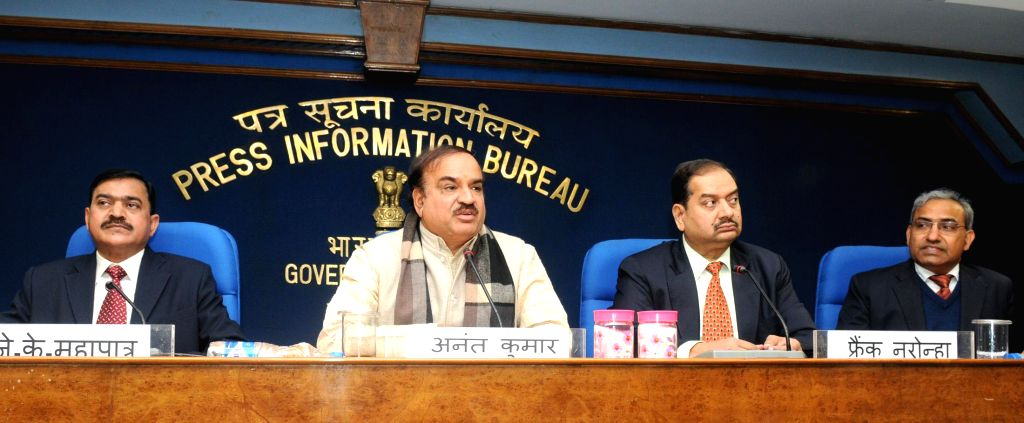 The Union Minister for Chemicals and Fertilizers, Ananthkumar addresses a press conference, in New Delhi on Jan 7, 2015.Also seen the Director General (M&C), Press Information Bureau ..