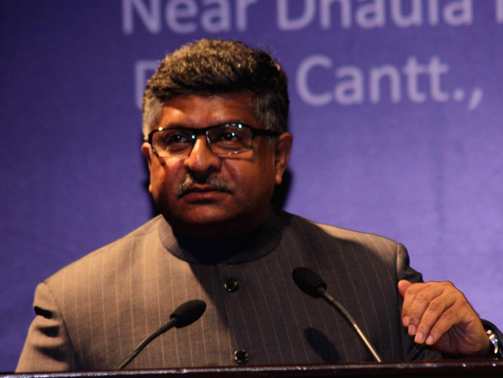 The Union Minister for Communications and Information Technology and NJP leader Ravi Shankar Prasad addresses at the inauguration of a programme organised on Good Governance Day at ...