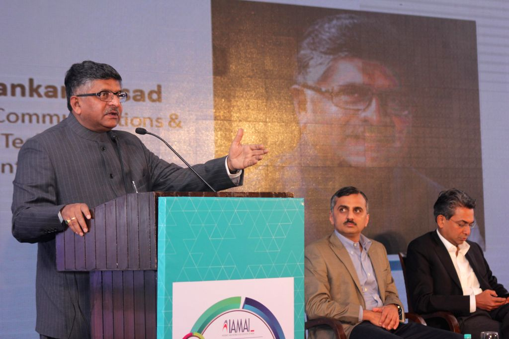The Union Minister for Communications and Information Technology and BJP leader Ravi Shankar Prasad at the 9th Digital Summit 2015 organised by IAMAI (Internet & Mobile Association of .
