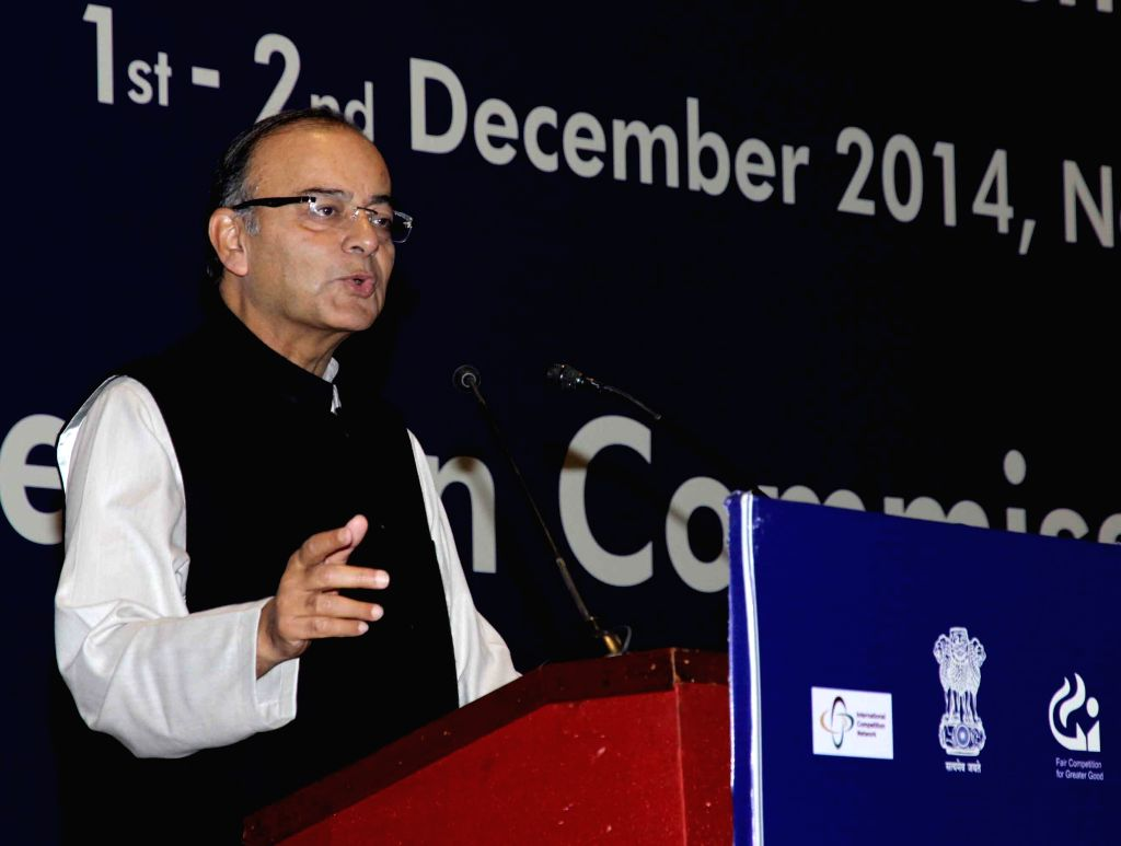 The Union Minister for Finance, Corporate Affairs, and Information and Broadcasting Arun Jaitley addresses at the ICN Merger Workshop 2014 organised by the Competition Commission of India .