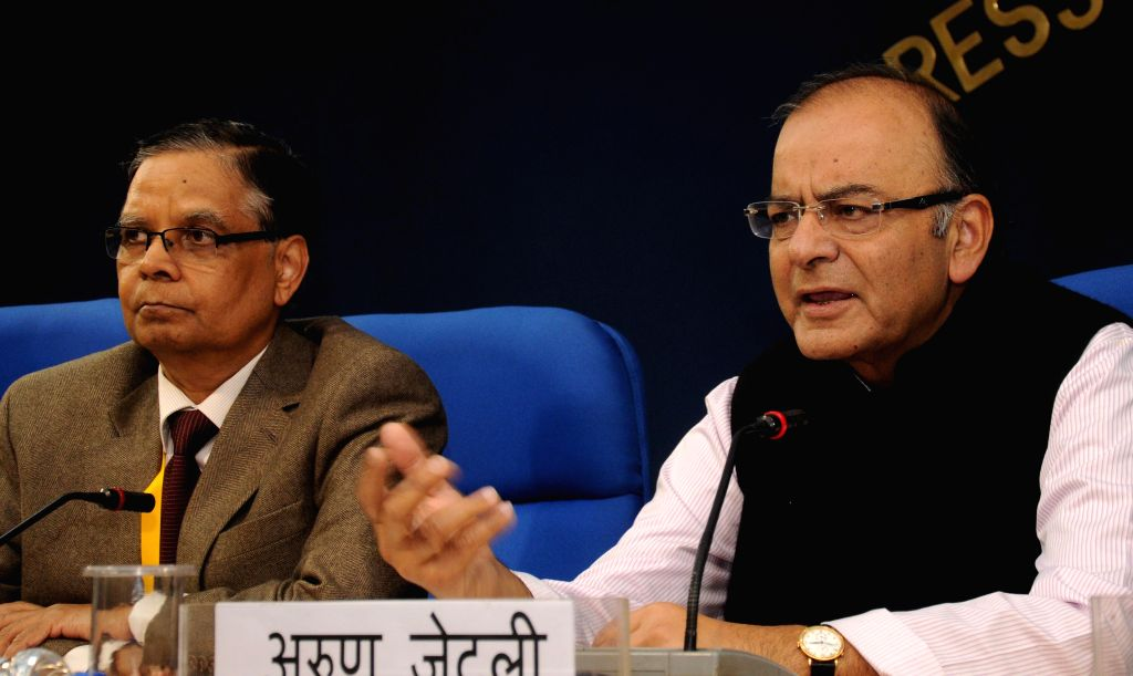 The Union Minister for Finance, Corporate Affairs and Information & Broadcasting, Arun Jaitley addresses media regarding the deliberations of the first meeting of the Governing Council - Narendra Modi