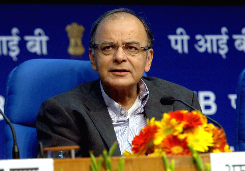 The Union Minister for Finance, Corporate Affairs, and Information and Broadcasting Arun Jaitley addresses at the Foundation Day of Security Printing and Minting Corporation of India ...