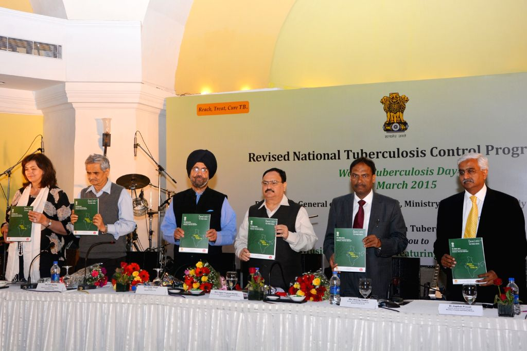The Union Minister for Health and Family Welfare J P Nadda releases the Revised National TB Control Programme's Annual Report-2015 during a programme organised by Central TB Division, ...