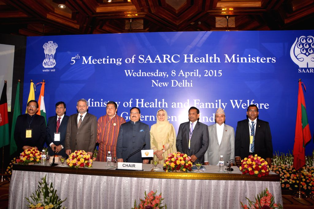 The Union Minister for Health and Family Welfare J P Nadda, Union MoS (Ministry of Health and Family Welfare) Shripad Yesso Naik and others at the 5th SAARC Health Ministers' Meeting in ...
