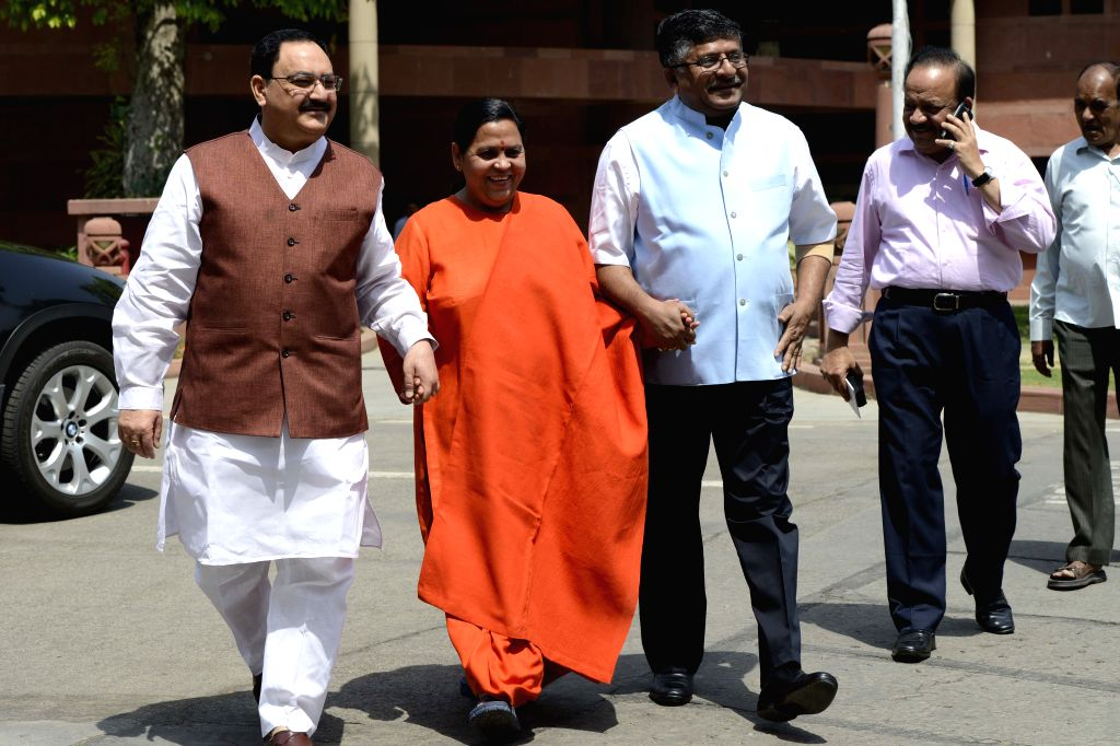 The Union Minister for Health and Family Welfare, Jagat Prakash Nadda, Union Minister for Water Resources, River Development and Ganga Rejuvenation Uma Bharti, Union Minister of ...