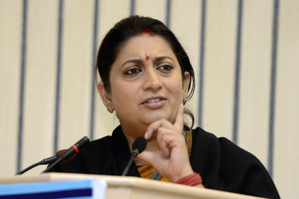 The Union Minister for Human Resource Development Smriti Irani addresses at the presentation ceremony of the National Award Presentation for Innovation in Educational Administration 2014, .