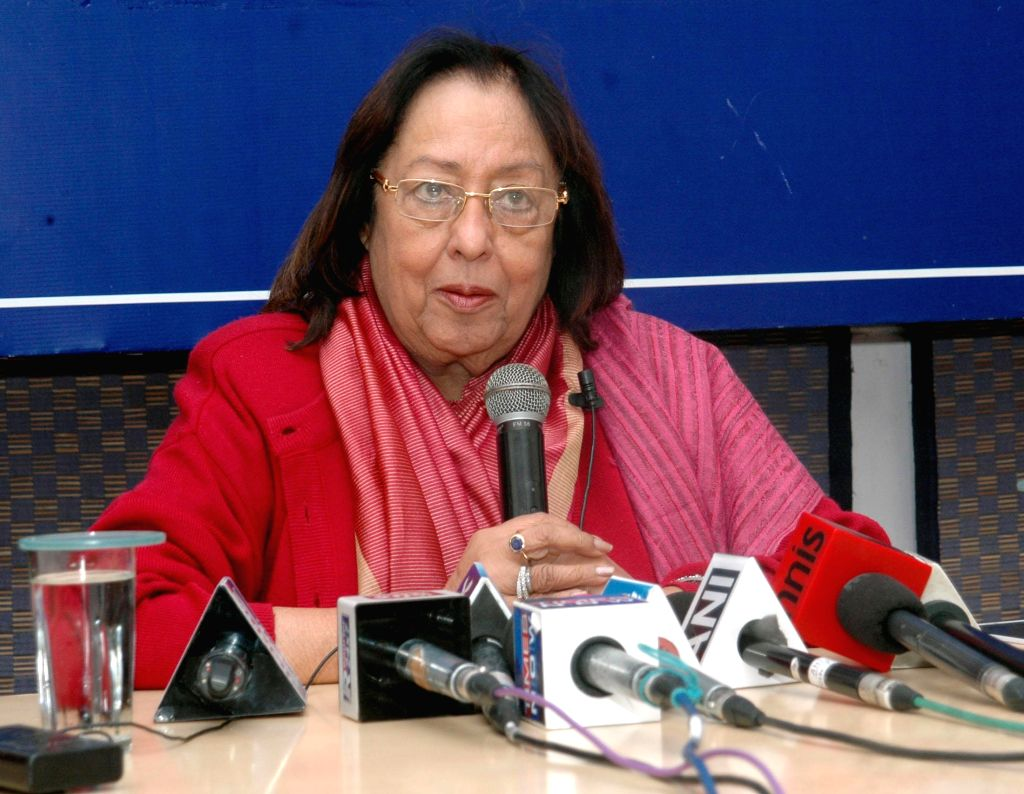 The Union Minister for Minority Affairs, Dr. Najma A. Heptulla in interacts with the Members of Indian Women's Press Corps, in New Delhi on Jan 7, 2015.