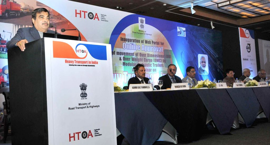 The Union Minister for Road Transport and Highways and Shipping Nitin Gadkari addresses at the launch of a web portal for online approval of movement of OD and OWC by the Modular ...