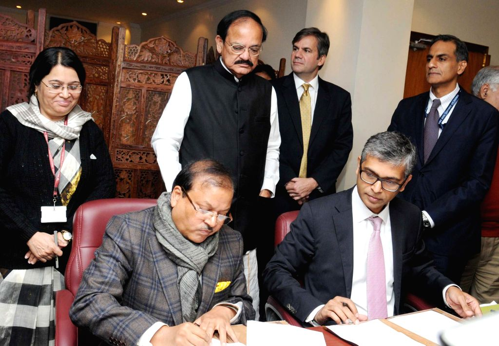 The Union Minister for Urban Development, Housing and Urban Poverty Alleviation and Parliamentary Affairs M. Venkaiah Naidu witnesses the signing of an MoU between the Ministry of Urban ... - M. Venkaiah Naidu