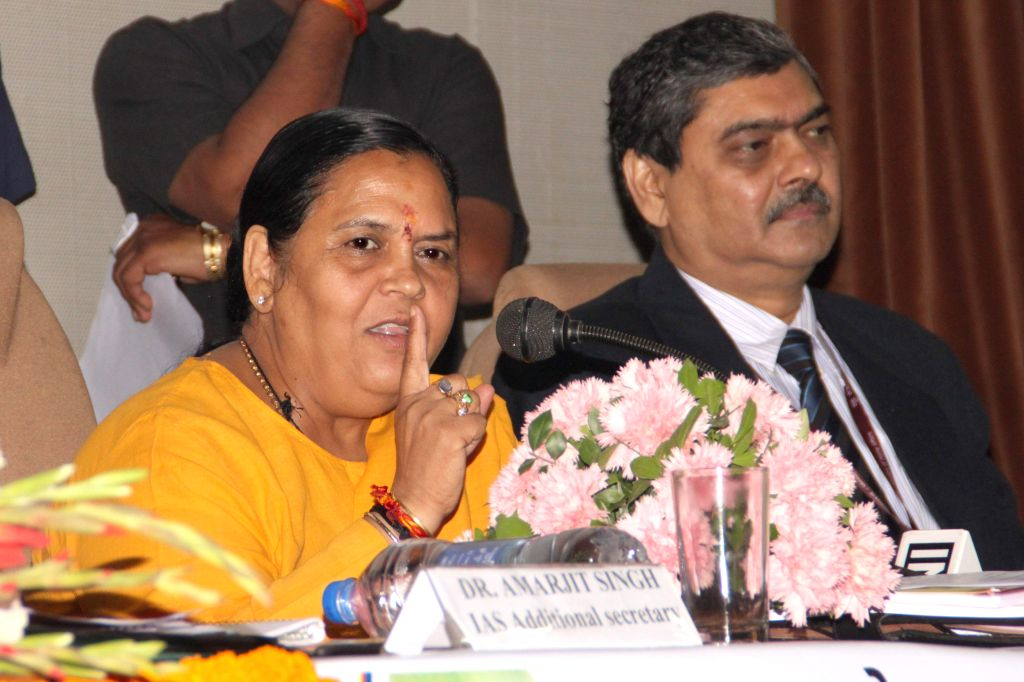 The Union Minister for Water Resources, River Development and Ganga Rejuvenation, Uma Bharti addresses at the inauguration of the National Convention of Water Users Associations in New ...
