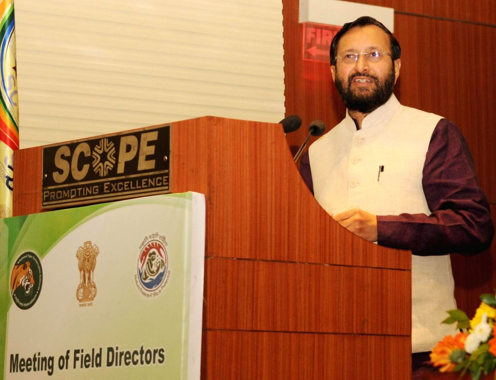 The Union Minister of State for Environment, Forest and Climate Change (Independent Charge) Prakash Javadekar addresses at the inaugural session of the meeting of Field Directors and Chief