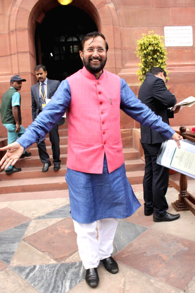The Union Minister of State for Environment, Forest and Climate Change (Independent Charge) Prakash Javadekar  at the Parliament on the second day of the budget session in New Delhi, on ...