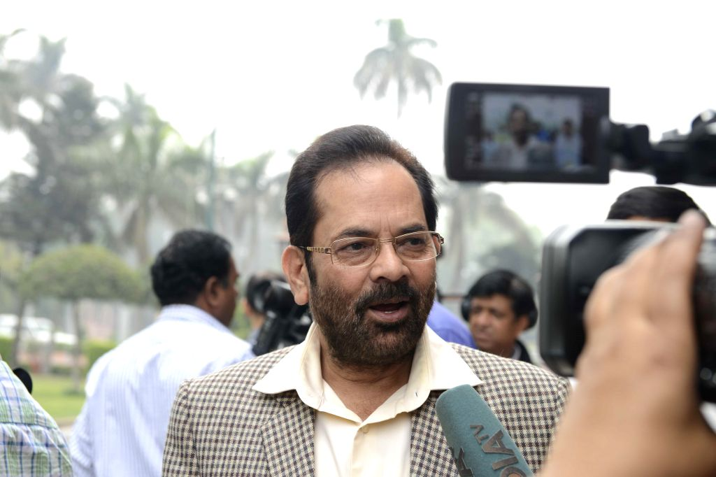 The Union Minister of State for Minority Affairs and Parliamentary Affairs Mukhtar Abbas Naqvi talks to press as he arrives to attend the budget session of the Parliament in New Delhi, on ...