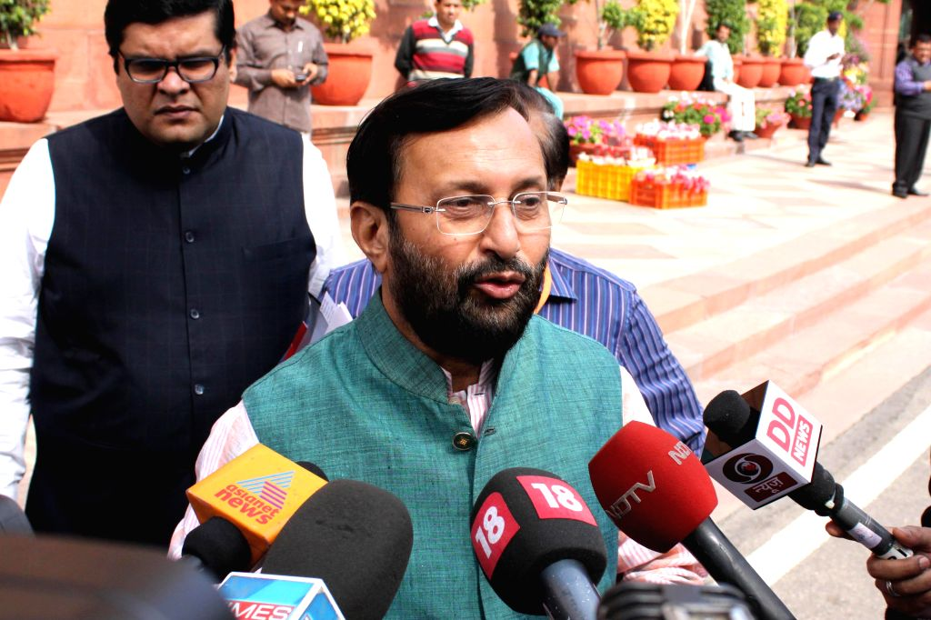 The Union Minister of State for Environment, Forest and Climate Change (Independent Charge) Prakash Javadekar talks to press at the Parliament in New Delhi, on March 11, 2015.