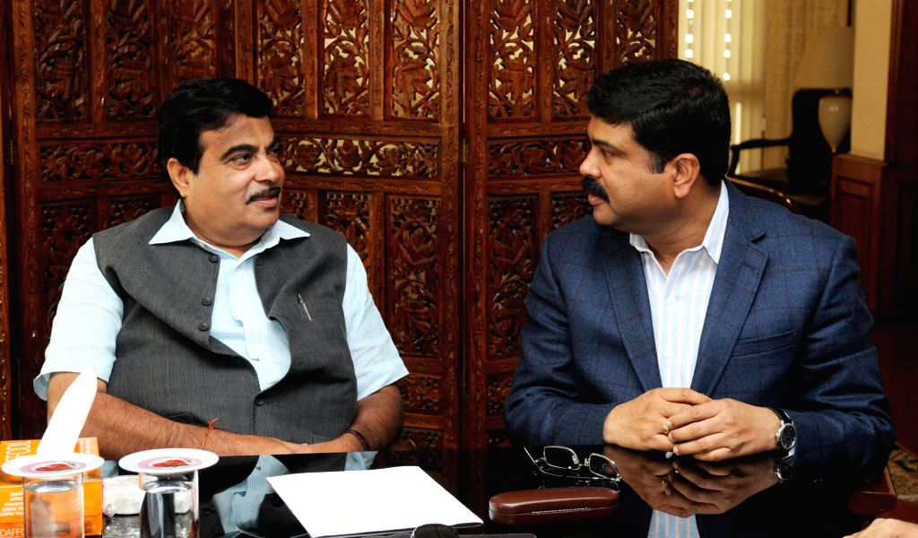 The Union Minister of State for Petroleum and Natural Gas (Independent Charge), Dharmendra Pradhan calls on the Union Minister for Road Transport and Highways, and Shipping Nitin Gadkari, ...