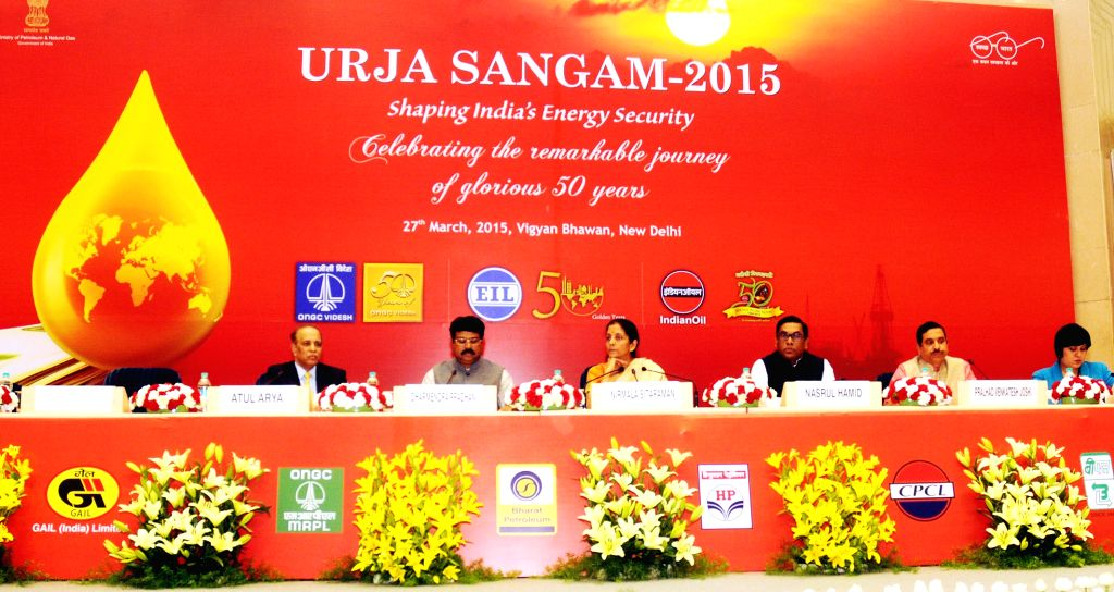 The Union Minister of State for Petroleum and Natural Gas (Independent Charge) Dharmendra Pradhan and the Union Minister of State for Commerce and Industry (Independent Charge), Nirmala ...
