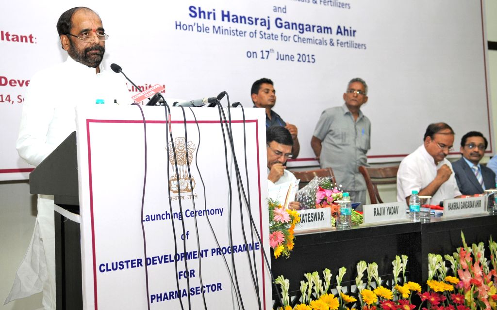 """The Union Minister of State for Chemicals and Fertilizers Hansraj Gangaram Ahir addresses at the launch of the """"Cluster Development Programme for Pharma Sector"""", in New Delhi on ... - Ananth Kumar"""