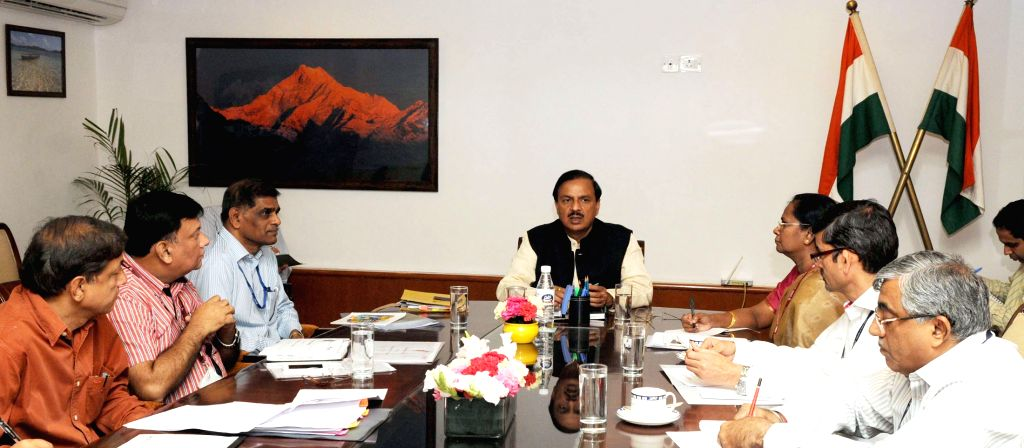 The Union Minister of State for Culture (Independent Charge), Tourism (Independent Charge) and Civil Aviation, Dr. Mahesh Sharma during a review meeting with the senior officer of the ...