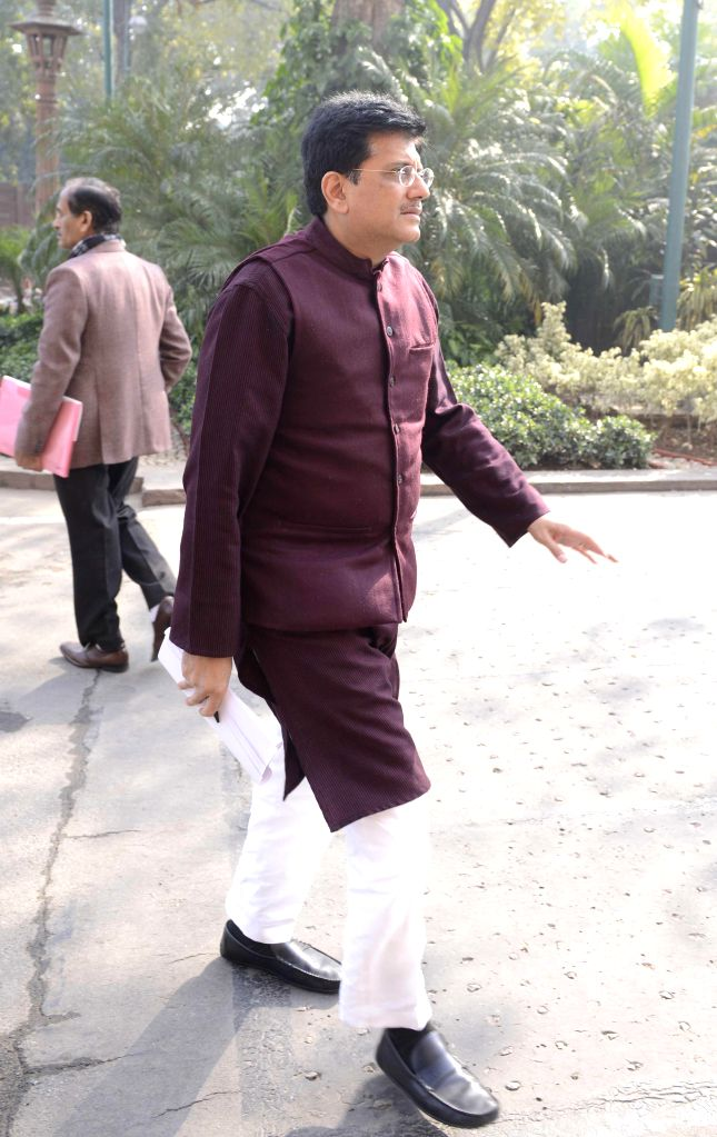 The Union Minister of State (Independent Charge) for Power, Coal and New and Renewable Energy Piyush Goyal at the Parliament premises in New Delhi, on Dec 17, 2014.