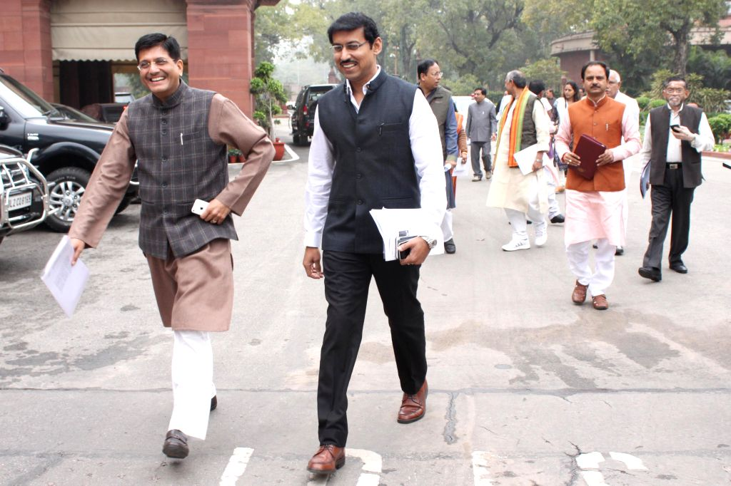 The Union Minister of State (Independent Charge) for Power, Coal and New and Renewable Energy Piyush Goyal and Union Minister of State Information and Broadcasting Col. Rajyavardhan Singh ... - Rajyavardhan Singh Rathore