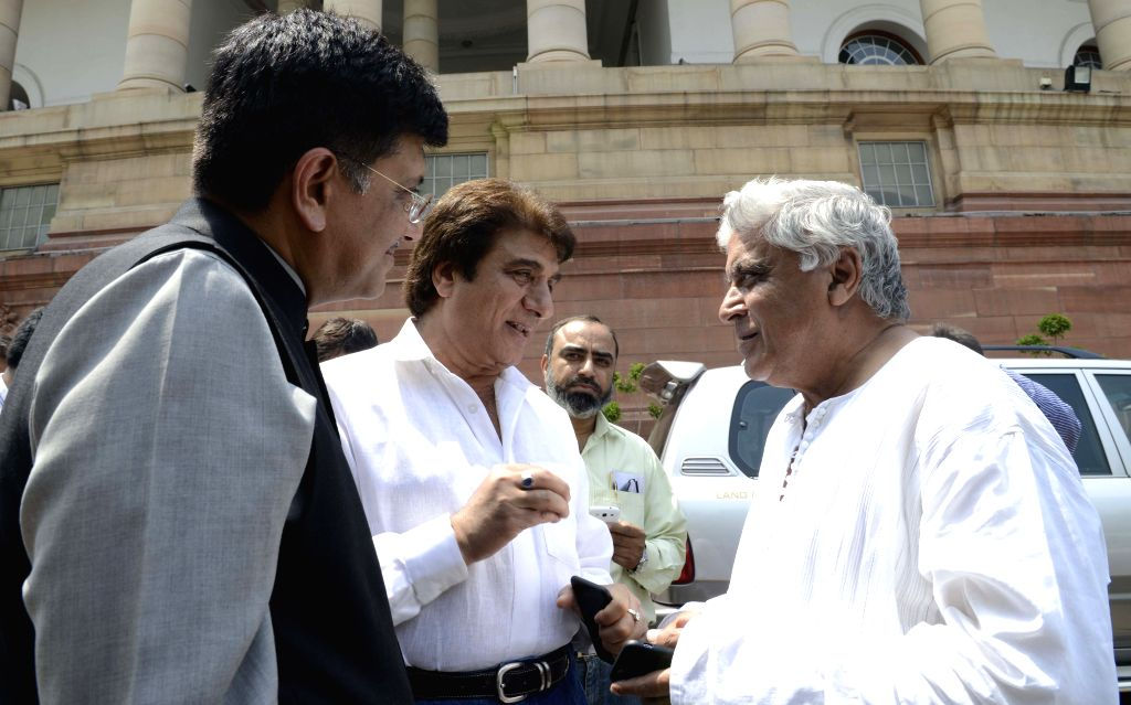 The Union Minister of State (Independent Charge) for Power, Coal and New and Renewable Energy Piyush Goyal, Congress leaders Raj Babbar and Rajya Sabha MP Javed Akhtar at the Parliament in ...