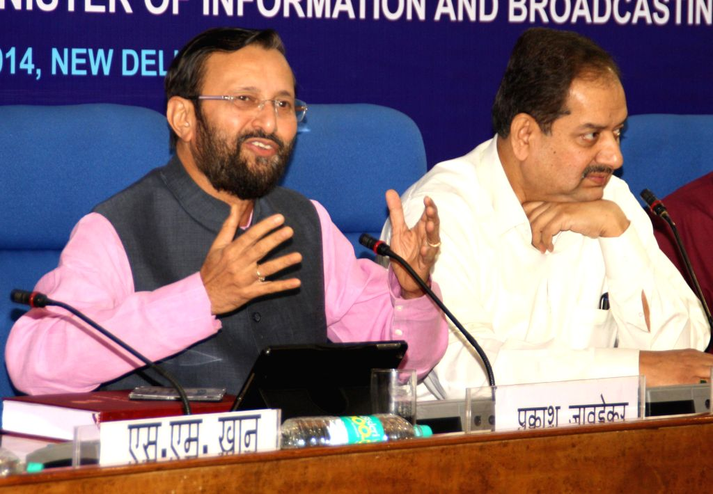 """The Union MoS for Information and Broadcasting (I/C), Environment, Forest and Climate Change (I/C) and Parliamentary Affairs, Prakash Javadekar addresses at the release of """"Press in ..."""