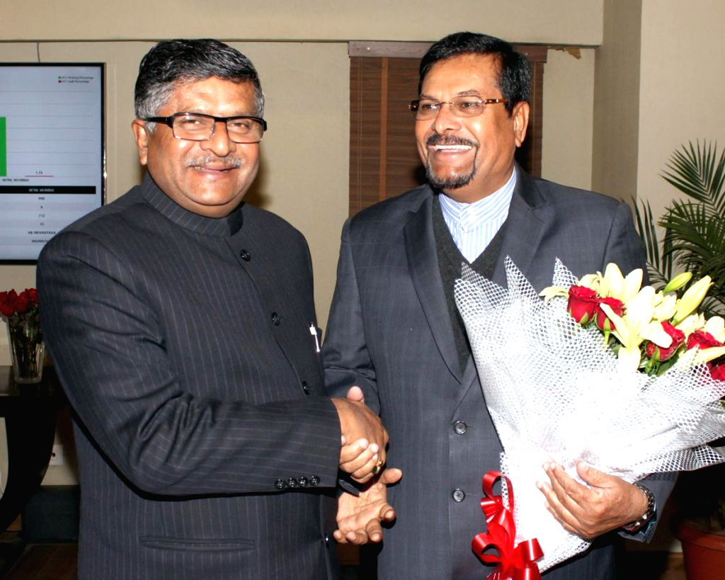 The Vice Prime Minister of Mauritius, Showkutally Soodhun calls on the Union Minister for Communications and Information Technology Ravi Shankar Prasad in New Delhi, on Jan 9, 2015.